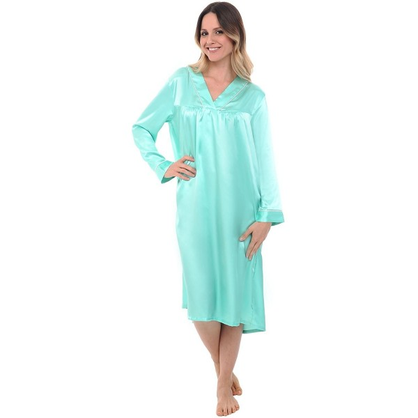 c4f0090bd0a3 Womens Satin Nightgown- Full Length Long Sleeved Caftan - Spa With ...