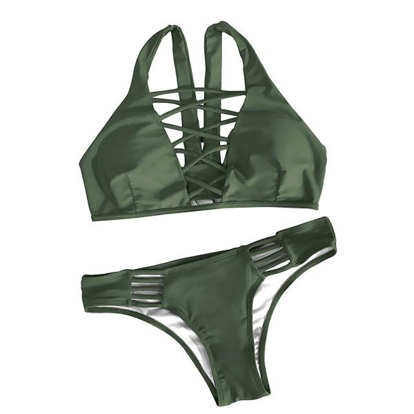 6e6689ab735c4 Women's Olive Cross Bikini Set Beach Swimsuit - Olive - CF184QWM99N