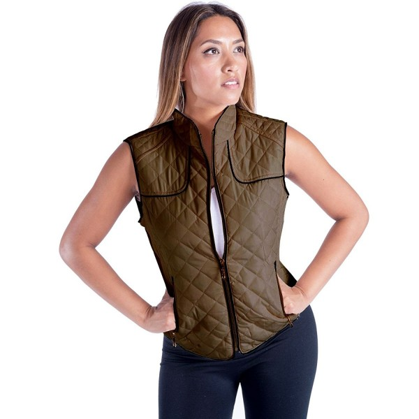 de60d94d6966a Women s Lightweight Quilted Padded Sleeveless Vest Leopard Lining ...