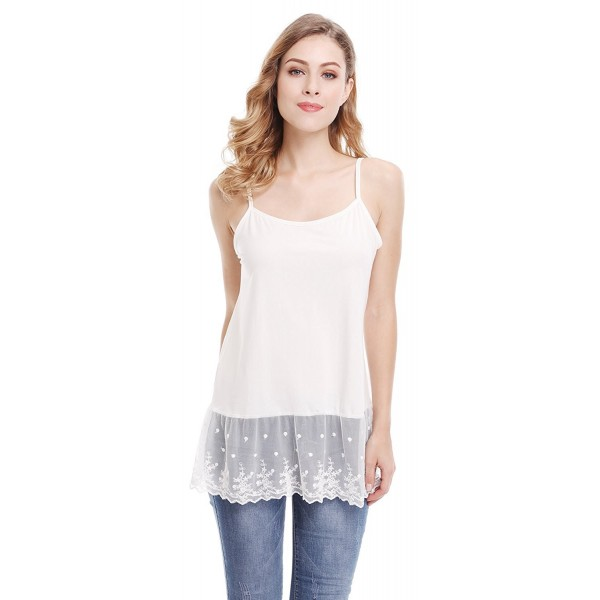 d1f9c51ca5a188 Womens Lace Trim Tunic Tank Top Layering Cami Top Extender - White ...