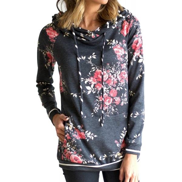 Angashion Hoodies Tops Printed Drawstring Sweatshirt