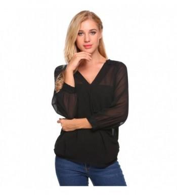 2b0b6eefa76f65 Womens Sexy Sheer Long Sleeve Warp Shirt V-Neck Lace Chiffon Blouse ...