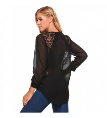5d1972ed1222b7 Mofavor Womens Chiffon Sleeve Patchwork; Women's Blouses; Discount Women's  Button-Down Shirts ...