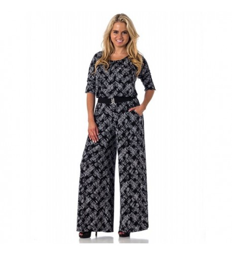 Alkii Wide Leg Printed Jumpsuit Cursive